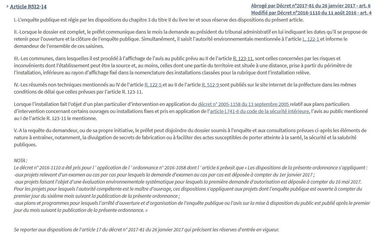 Article r512 14 code environnement
